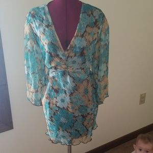 Blue and brown splash blouse